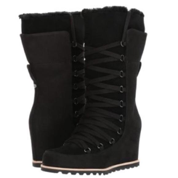 f53efd648fd New Ugg Black Mason Tall wedge Laced Boots Sz 5 🎁 NWT